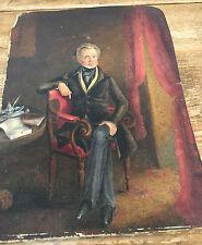 Man in Parlor 1800's Original Drawing Thomas Clark Parlor HF Jo Artist Inkwell ?