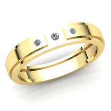 Three-Stone Engagement Ring 10K Gold 1carat Round Cut Diamond Mens Fancy