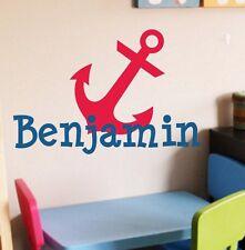 Monogram w Anchor - Vinyl Wall Decal Nautical Theme Boysroom Playroom Nursery
