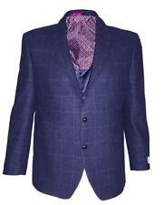 SCOTT Mens Pure New Wool Herringbone Over Check Tweed Sports Jacket in Navy