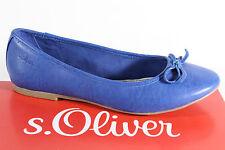 s. Oliver Bailarina Mocasines Zapatos de tacón azul, Suela Interior cuero NUEVO