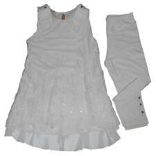 Completo bambina Cerimonia Made in Italy miniabito e leggings avorio