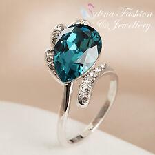 18K White Gold GP Made With Swarovski Crystal Stunning Sapphire Teardrop Ring