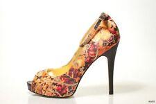 new MARTINEZ VALERO floral pattern open toe ankle straps platform pumps