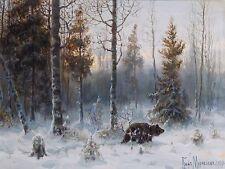 winter forest snow bear V. Muravyov Tile Mural Kitchen Backsplash Marble Ceramic