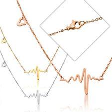 Damenkette Halskette Edelstahl Anhänger Herz Herzschlag Puls Rythmus Frequenz