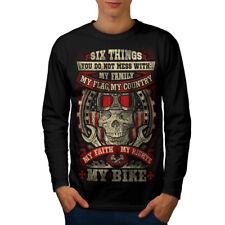 Biker Skull Men Long Sleeve T-shirt NEW | Wellcoda