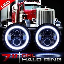 LED Headlamps Headlights Black Lights w/Halo DRL Upgrade for Peterbilt 359 379