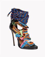 Women Slim High Heel Mixed Color Cross Strap Sandals Peep Toe Tribal Shoes US 10