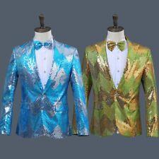Men Stripe Sequin Suit Blazer Glitter Jacket Shiny Costume Slim Fashion Coat Top