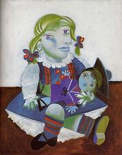 PABLO RUIZ PICASSO Ritratto di Maya con la sua bambola vintage stampa