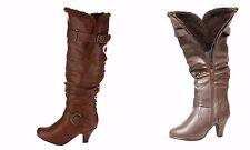 Women's New  Knee High Slouchy Small Heel Winter Woolen Lining Boot Shoe Sz 6-10