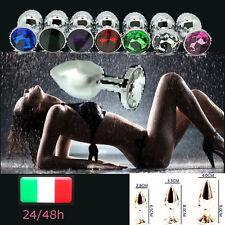 PLUG anale in metallo pietra effetto cristallo colorata dildo sex toy bondage