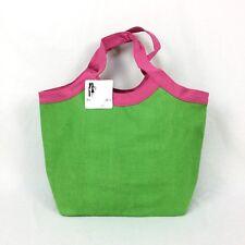 Women's Jute Large Tote Shopping Beach Bag Orange Green Black & Pink Canvas Trim