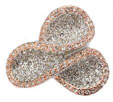 Zest plata cristal swarovski limpio tres veces Anillo de plata y rosa