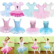 Girls Ballerina Tutu Dress Ballet Dance Wear Leotard Ballroom Gym Skirt Costume