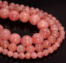 Genuine Argentina Rhodochrosite Gemstone AAA Round 4mm 6mm 8mm Loose Beads (924)