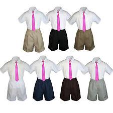 3pc Baby Boys Toddler Formal Fuchsia tie,White Gray Navy Black Khaki Shorts Set