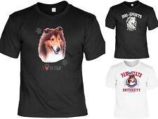 Collie Motiv T-Shirt - Hunderassen Langhaar Collie Hund Zeichnung / Lassie Motiv