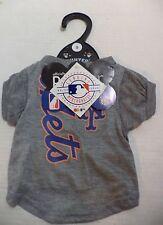 MLB New York Met's Ash Logo Pet T-shirt MLB Gray Dog Tee Shirt