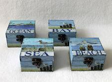 Maritime Boîte en bois Boîte 10X10X6 cm Caisse Coffre bois avec Mouettes