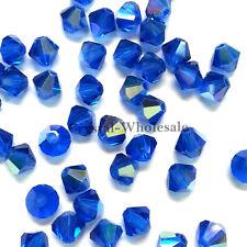 4mm Capri Blue AB (243 AB) Swarovski crystal 5328 XILION Bicone Beads