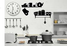 Cuisine étagères Wall Art Autocollant, Decal ~ 2 x Étagères avec pots, bols, Ustensiles