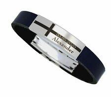 Büffel Leder Kreuz Armband Edelstahl  /& Verschluss Gravur Name Datum Herren