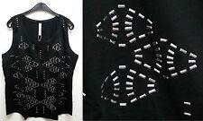 NEU Übergröße elegantes Damen Top in schwarz mit silbernen Zierstäbchen Gr.48