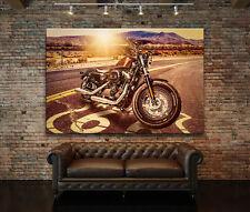 LEINWAND BILD XXL HARLEY DAVIDSON MOTORRAD WANDBILD AMERIKA ROUTE 66 KUNSTDRUCK