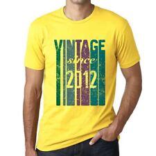 2012, Vintage Since 2012 Homme Tshirt Jaune cadeau d'anniversaire