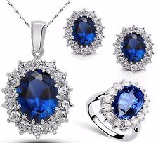 (JW013) Princess Royal Ocean Blue 18K White Gold Plated Jewellery Set