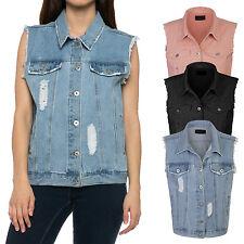 *CLEARANCE* Women's Loose Fit Trucker Distressed Denim Vest S,M,L