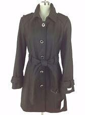 Calvin Klein NWT Elegant Women's Black Wool blend Coat CK engraved buttons