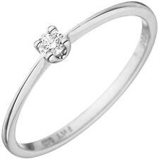solitario anillo mujer con diamante brillante 0,07 Qt. Oro 585 blanco de