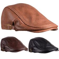 100% Real Cowhide (NO PU) Newsboy Hat Flat Ivy Cap Driving Golf Gatsby Steampunk