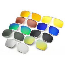 Clip-On Sunglasses Polarized Mirrored Lenses Classic Retro Rectangle Glasses New