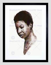 Nina simone aquarelle portrait chris evry noir encadré art imprimé B12X13728