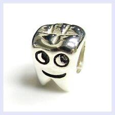 925 Sterling Silver Smiley Tooth Dentist Dental Bead for European Charm Bracelet