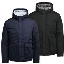 Mens New Puffer Jacket Hooded Padded Jack & Jones Regular Fit Black Navy