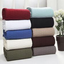 All Season Soft Premium Cotton Throw Blanket, Diamond Design, 10 Colors