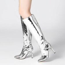 Eur 34-43 Womens Pointy Toe Knee Thigh Boots High Heels Nightclub Stiletto Pumps