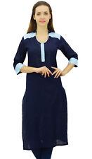 Kurti en coton kurta flammés droites longues blouse bleu marine tunique femmes