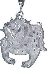 Sterling Silver Bulldog Pendant Necklace Diamond Cut Finish 3.6 Inch 37 Grams