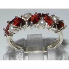 Unusual 925 Solid Sterling Silver Natural Garnet & Pearl Womens Eternity Ring