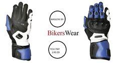 Weise Vortex sports Motorcycle kangaroo leather Blue glove Men's was £99.99 M