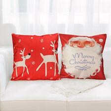 "Premium 18""Lovely Santa Claus Textured Cotton Linen Pillow Case Cushion Cover-US"