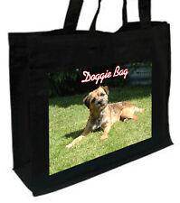Border Terrier Cotone Shopping Bag, scelta di colori, Nero, Crema, DB