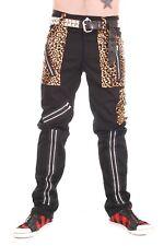 Tiger of London Zip Bondage Pants in Black Cotton with Leopard Trim.