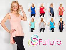 Stylish Women's Top Asymmetric Hem V Neck Cap Sleeve Tunic Size 8-12 8103